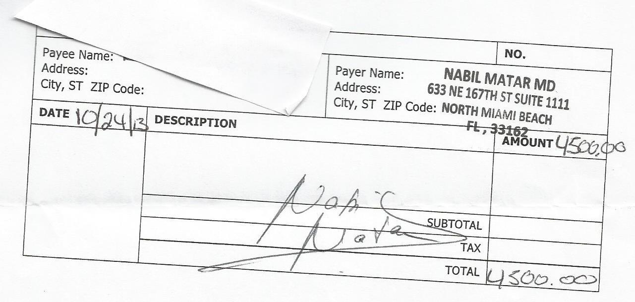 Расписка в получении денег за проведение родов в Майами